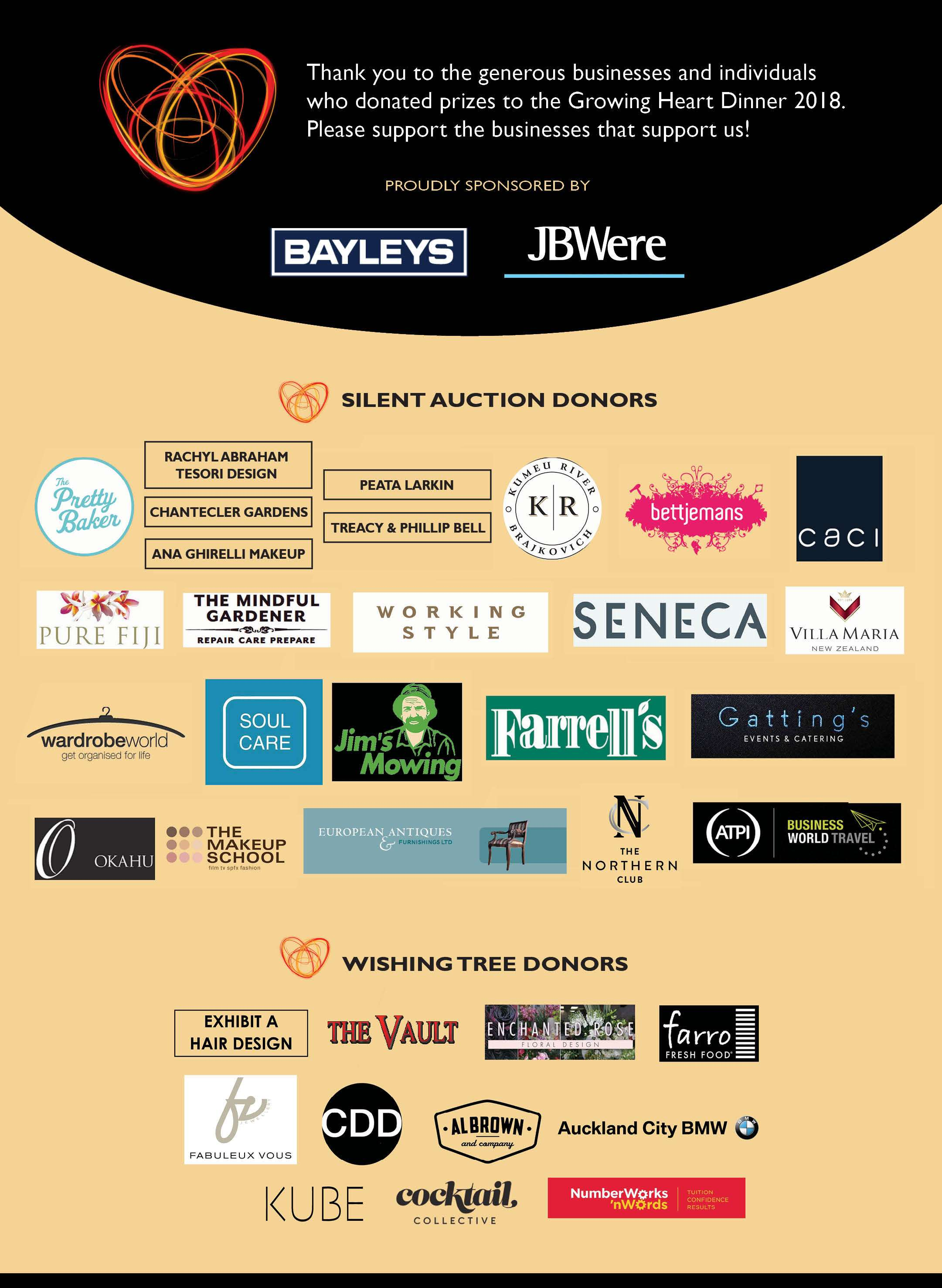 Growing Heart Dinner Sponsors
