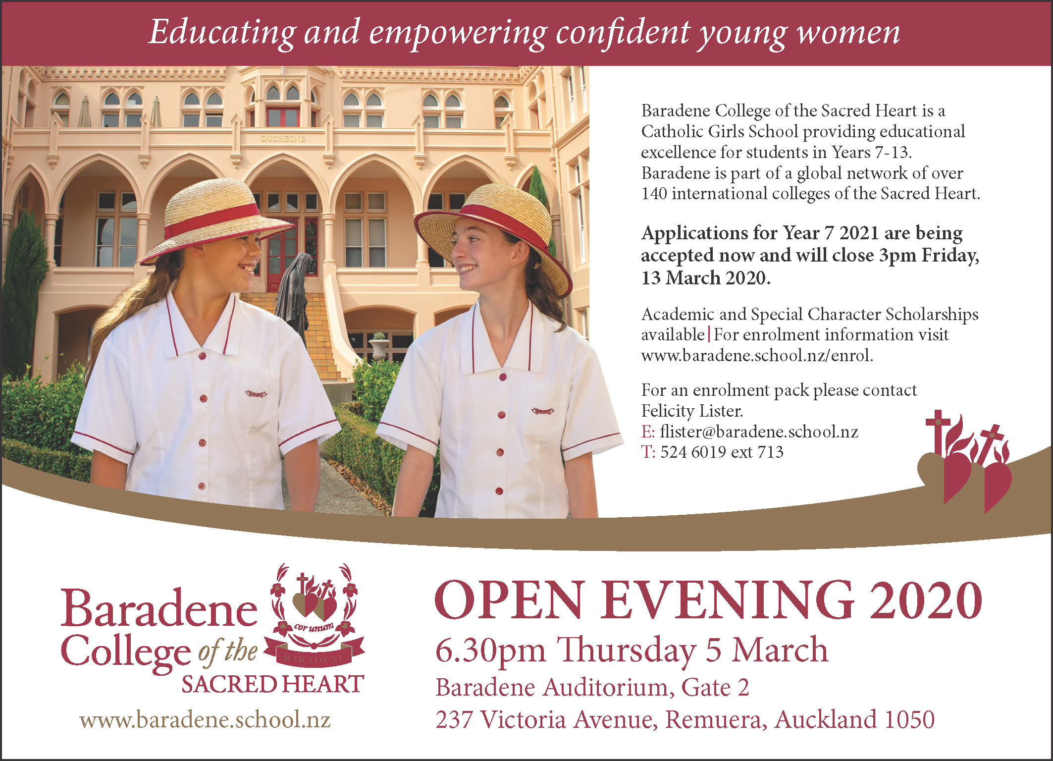 Baradene College Hobson Advert 130 X 180mm As At 21nov19